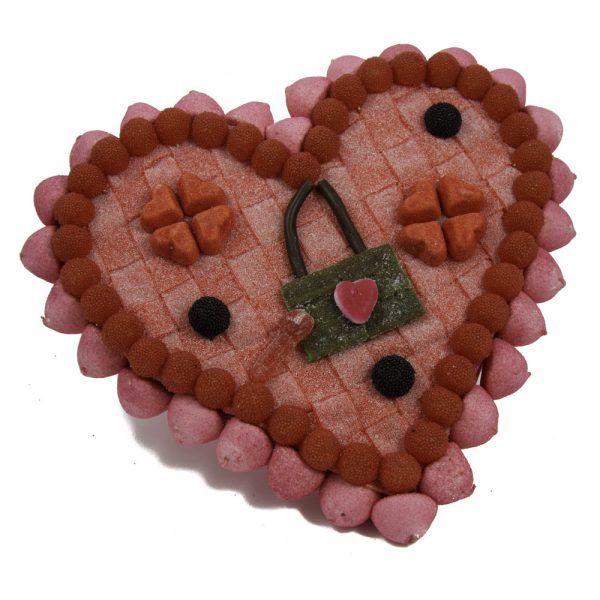 Tarta de gominolas original Corazón Candado de Chuches Xiana