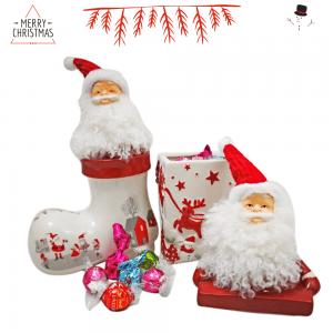 Bote y Bota Cerámica Papa Noel